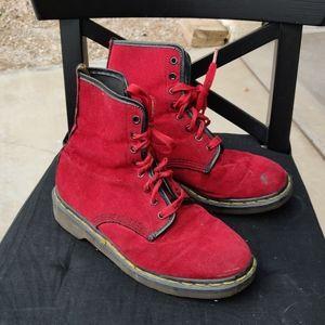 Cherry Red velour, velvet doc Marten 8 hole boots